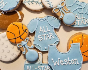 Sports baby shower cookies (12)