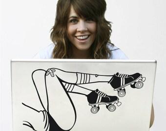 roller derby legs laptop decal, roller derby sticker art, chicks in bowls art, FREE SHIPPING