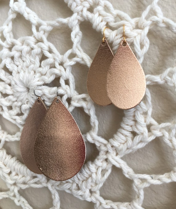 Rose Gold Metallic Leather Teardrop Earrings - Lightweight Leather Jewelry - Choose Your Size on Stainless Steel or Gold-Plated Wires