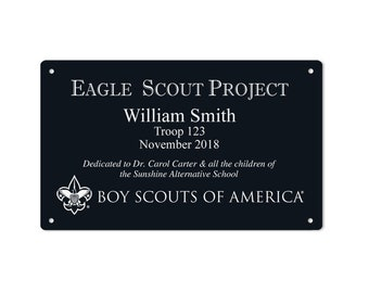 "Eagle Scout Project Marker - 3"" x 5"" or 5"" x 7"" with BSA Logo and No Border - Horizontal - Anodized Aluminum"