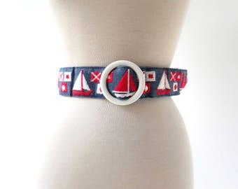 Vintage Nautical Belt | 1960s Belt | Sailboat Belt | M L