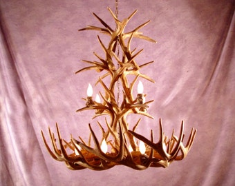 Reproduktion Geweih Whitetail Deer Kaskade Benutzerdefinierte Kronleuchter  Leicht RL 26, Rustikal
