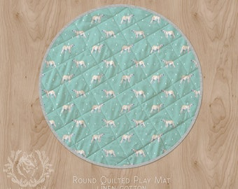 Polar Bear Round Play Mat for Baby Tummy Time | Soft Blue Green Linen Cotton Quilted Circle Rug Nursery. Ships in 4-6 wks