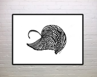 Umbrella Leaf, black and white print, abstract, wall art, home decor, office decor, gift 20