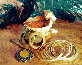 Vintage 1990s Set Gold and Wooden Jewelry