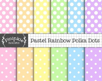 Pastel Polka Dot Paper Pack Digital, Rainbow Scrapbook Paper Digital, Pastel Digital Paper, Instant Download, Commercial Use
