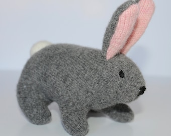 Bunny: stuffed  - Gray grey plush, wool rabbit made from repurposed, felted wool sweaters  Perfect for Easter!