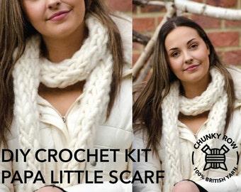 Papa Little Scarf- DIY Crochet Kit - Super Chunky Yarn - 100% Real Shetland & British!
