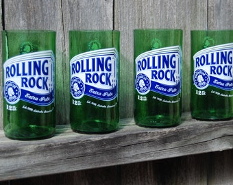 Set of 4 upcycled Rolling Rock glasses