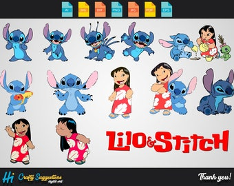 13x Lilo and Stitch SVG | Png | Eps Cricut cutting file | vector file | printable | silhouette | digital download