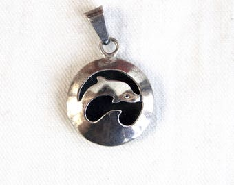 Sterling Silver Dolphin Pendant Vintage Mexican Ocean Animal Jewelry Round Taxco Mexico Surfer Girl Gift
