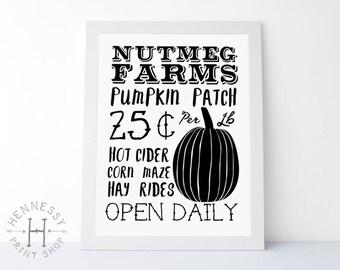 Fall Pumpkin Patch Printable Art / Instant Download / Art Print / Autumn / Halloween / Seasonal Art / Fall Decor / Pumpkin Art