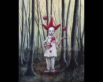 Jester in the Red Cap, Pierrot in the Forest, The Juggler, Far Darrig, Irish Folk Lore, The Red Man, Nightmare, Fairy Tale, Macabre, Forest