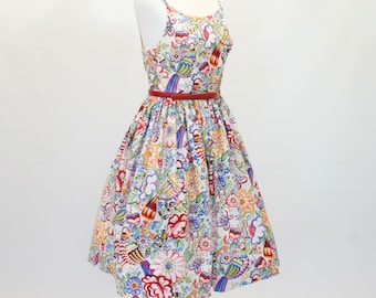 20% OFF SALE 50's Fit and Flare Dress, Summer Print Dress, Custom Made Dress, Cotton Dress