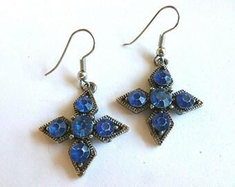 BLUE RHINESTONE Silver Cross Earrings, Vintage Dangling Cross Earrings for Pierced Ears, Cross Earrings, Blue Earrings, Christian Spiritual