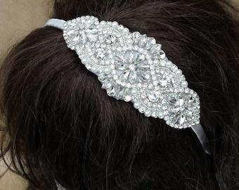 Chic Grey Rhinestone and Pearl Bridal Headpiece; Vintage Art Deco Style Wedding Headband; Jeweled Homecoming/Prom Headband; Designer Bride