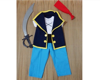 Jake Set (with Pants)-Jake and the neverland pirates costume- Jake Birthday Outfit -Disney Cruise Pirate- First Birtday Outfit- Captain Jake