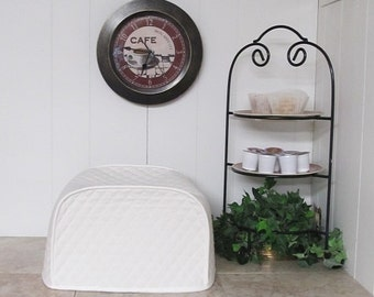 White Kitchen 4 Slice Toaster Cover Quilted Fabric Small Appliance Covers Made To order