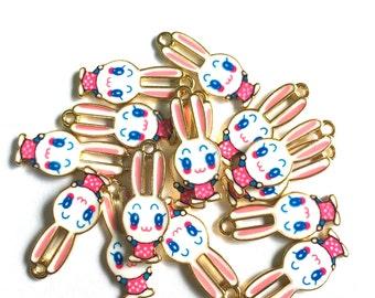 Kawaii Enamel Bunny Rabbit Charms Pink and Blue 4pcs