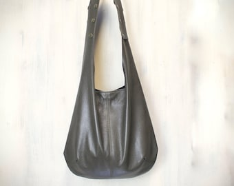 leather hobo bag with adjustable handle,  brown leather crossbody, italian leather bag hand made, READY to shipping