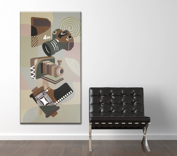 Original Acrylic Canvas Camera Painting, Retro Camera Art, Camera Art, Camera Art, Camera Wall Art, Camera Wall Decor, Camera Design