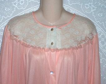 Size Large -  Vintage Robe - by Katz  - Peignoir  - Dressing Gown - Housecoat - Peach - Nylon - Lace  - 3/4 Sleeves - Below Knee Length