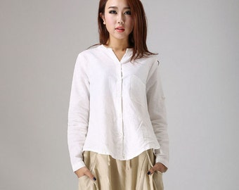 linen blouse, white linen shirt, linen tops, linen shirt women, long sleeve shirt, womens tops, loose top, linen clothing, white blouse 779