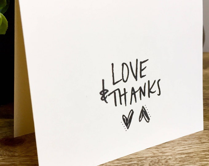 Love and Thanks card, thank you card set clean style, simple thank you card, handlettered stationery, Hand lettered card, heart thank you