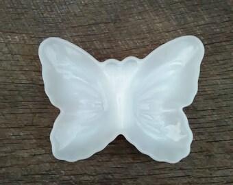 White Milk Glass Butterfly Trinket Dish, Dresser Organizer, Inv.#129