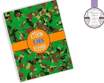 Personalized spiral notebooks school notebooks green camo notebooks student notebooks