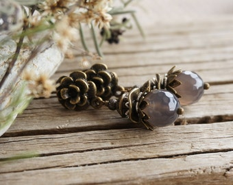 "Bohemian ""Grey Mantle of Fog"" Dangle Earrings, Boho Shabby Chic Victorian Rustic Smoky Floral Stud Earrings, Wedding Bridesmaid Jewelry Gift"