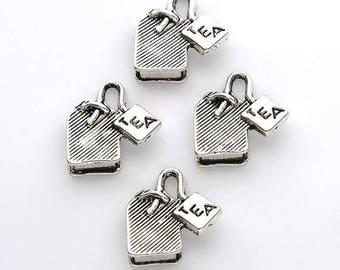 Teebeutel-Charms-10 Stück. Antik Silber 15x15mm