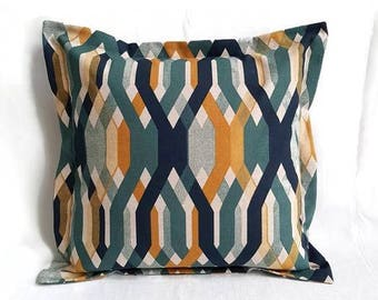 Cushion cover in ochre yellow with blue and green in retro style, cushion cover with envelope closure, pillow covers, throwback pillow, cushion cover