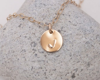 Initials Necklace Gold, Initial Necklace Gold, Dainty Gold Necklace Personalized Small Gold Disks /Minimal Circle Tags Disc / Monogram