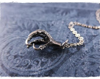 Silver Bird Claw Necklace - Sterling Silver Bird Claw Charm on a Sterling Silver Cable Chain or Charm Only