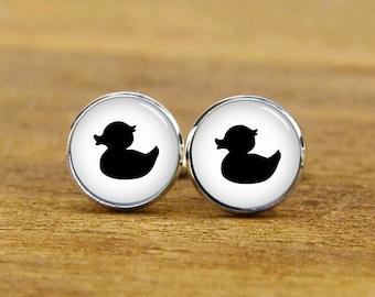 ON SALE duckling cufflinks, duck cufflinks, Bathroom Rubber Ducks cufflink, custom round or square cufflink, Ducks tie tack, Ducks tie clip
