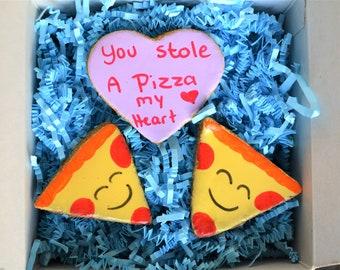 Dante's Sweet Sentiments Collection (Pizza Heart) Cookies /Healthy Dog Treats /Dog Cookies /Dog Bakery /Organic Dog Treats /Dog Birthday