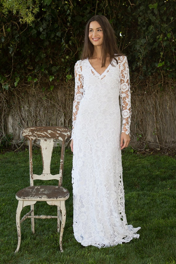 Bohemian wedding dress crochet lace long sleeve boho wedding junglespirit Gallery