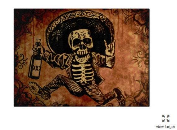 Posada inspired Tequila Bandit glass cutting board