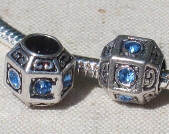Octagonal Light Blue Crystal Spacer European Style Spacer Charm Bead - Big Hole Bead