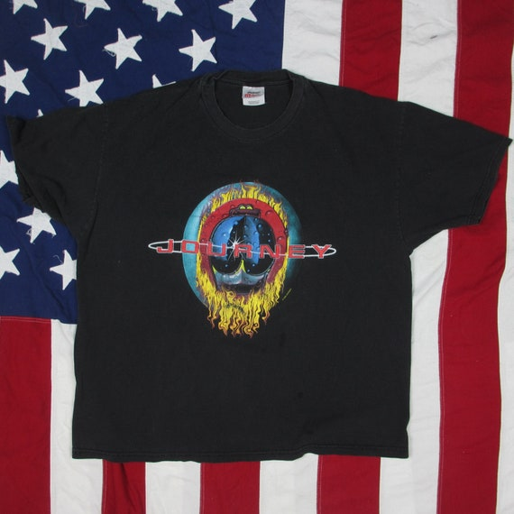 Vintage 1990's Journey Concert Tour T Shirt Xl Stedman Hanes Black Classic Rock Steve Perry Dates Vacation's Over World Tour by Etsy