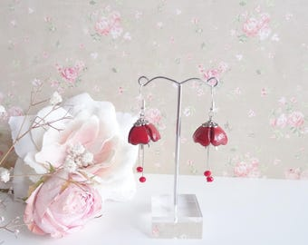 Earrings red petals enameled bright effect