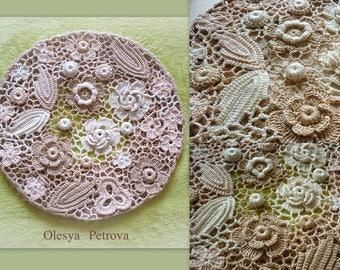 Crochet lace hat Boho Wedding hat Crochet Beret formal hat Beige Cream Flower Hats Woman Irish lace Beanie Slouch Hat Hippie hats Beret