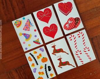 Birthday stickers, Chocolate stickers, Valentine's stickers, Christmas stickers, Reindeer stickers, Halloween sticker, Mrs Grossman sticker