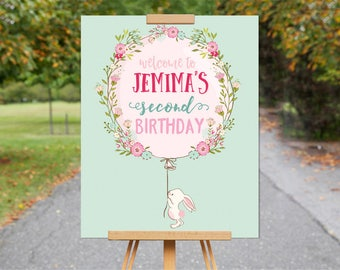 Mint Bunny Welcome Party Sign |  Bunny Birthday Decor |  Welcome Birthday Sign | 1st, 2nd, 3rd, 4th, 5th Birthday | Printable | 1533