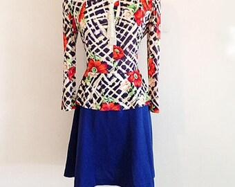 Vintage 1970s Peplum Poppies Garden Dress Size Small Medium