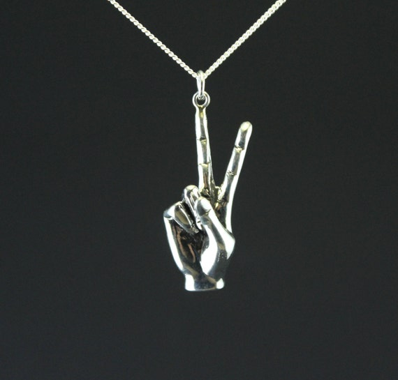 Peace sign necklace, hand gesture, Victory sign, sterling silver hand carved, summer jewelry
