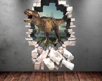 Dinosaur Wall Decal Wall Stickers Full Color 3D Dinosaur T-Rex Wall Art Sticker Boys Decal Mural Transfer Graphic Wall Stickers WSD85