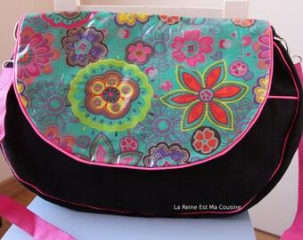 Black Suede and velvet flowers laminated flap satchel