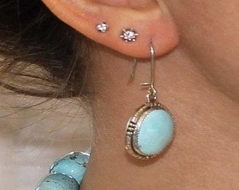 40% Off Earring Sale : ) Kingman Turquoise Earrings Pale Sky Blue Large #2